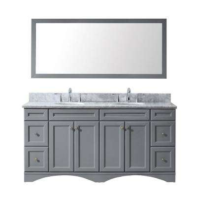 Talisa 72 in. W Bath Vanity in Gray with Marble Vanity Top in White with Round Basin and Mirror