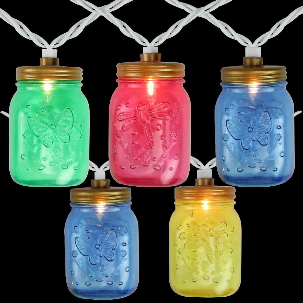 7.5 ft. 10-Light Multi-Color Mason Jar Incandescent Mini Patio Lights with White Wire