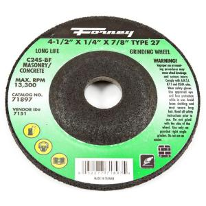 Forney 4-1/2 inch x 1/4 inch x 7/8 inch Masonry Type 27 C24S-BF Grinding Wheel by Forney