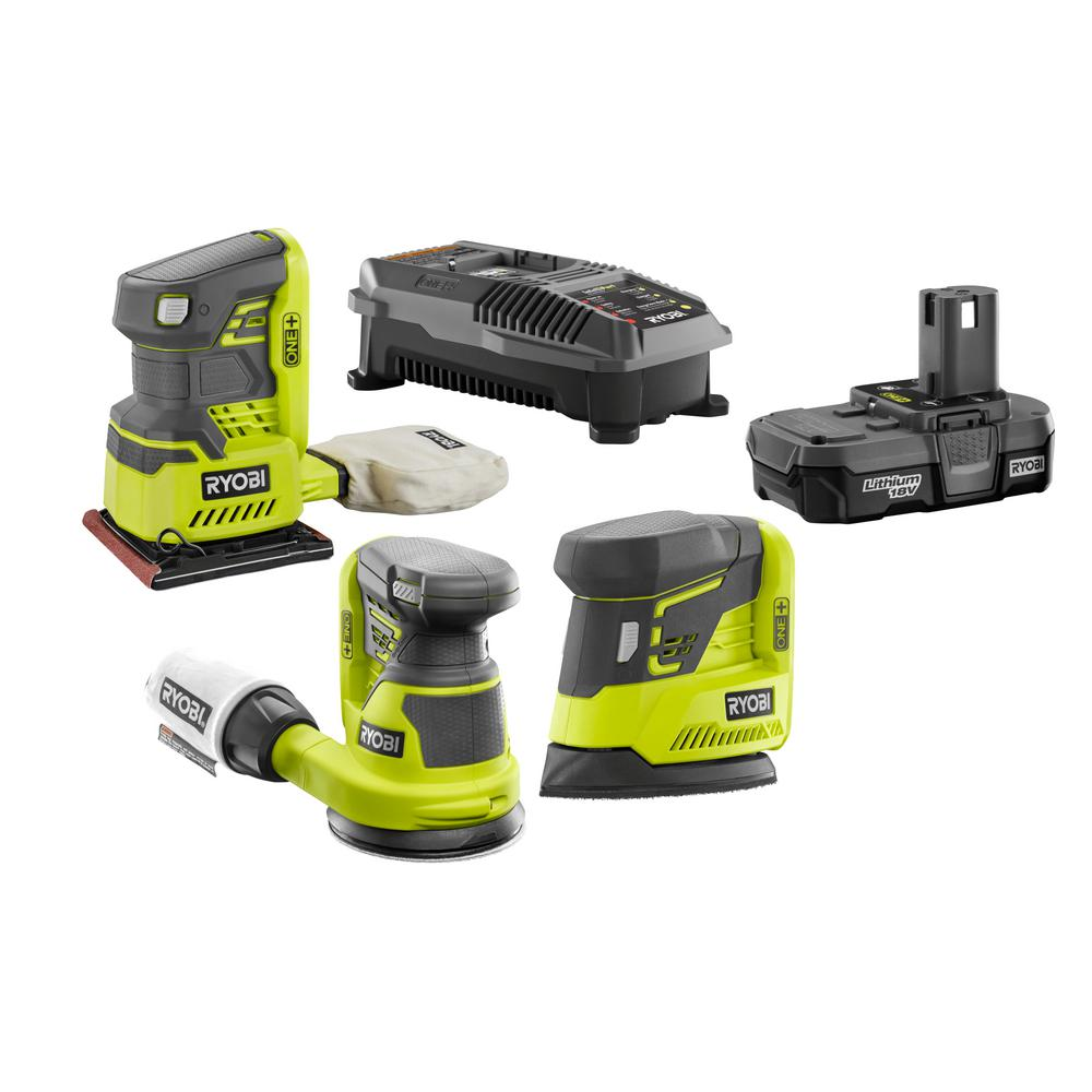 RYOBI 18-Volt ONE+ Cordless Lithium-Ion 3-Tool Sanding Combo Kit with (1) 1.3 Ah Battery and 18-Volt Dual Chemistry Charger