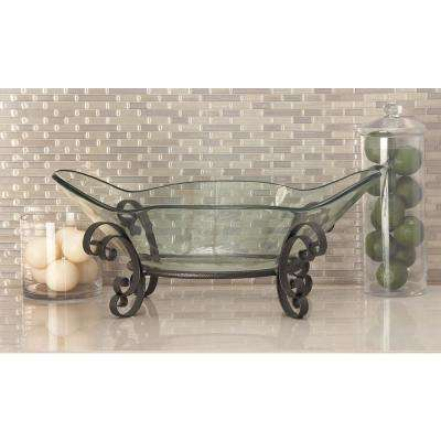 10 in. x 24 in. Flower Glass Bowl with Lacy Scroll Iron Stand