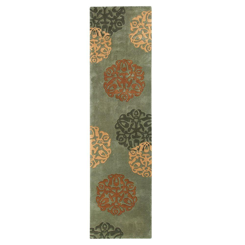 Home Decorators Collection Chadwick Lite Green / Gold 2 ft. x 9 ft. 6 in. Rug Runner