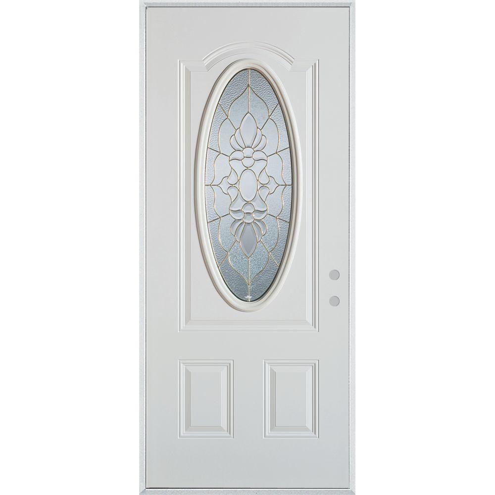 Stanley Doors 36 in. x 80 in. Traditional Zinc 3/4 Oval Lite 2-Panel Prefinished White Left-Hand Inswing Steel Prehung Front Door