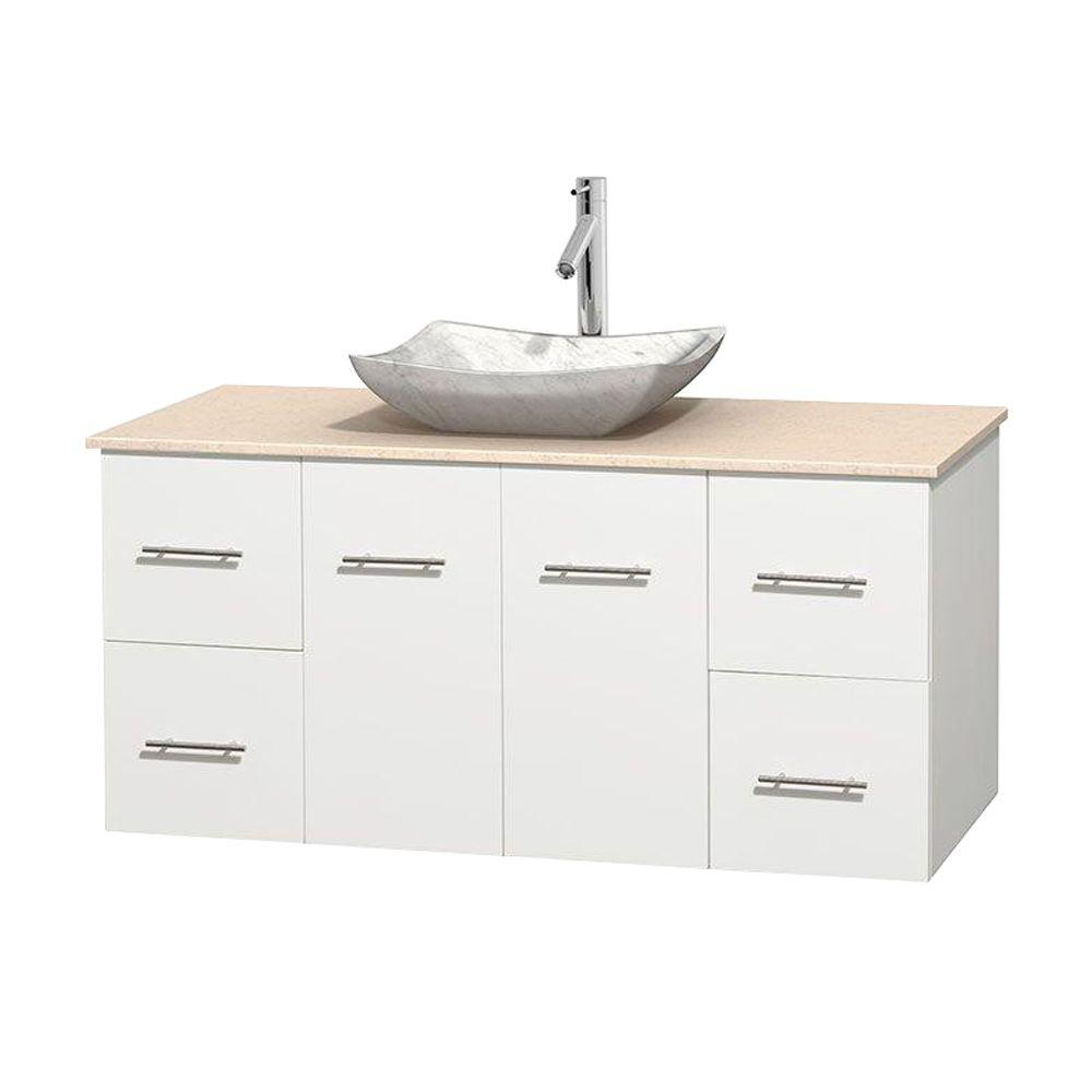 Wyndham Collection Centra 48 in. Vanity in White with Marble Vanity Top in Ivory and Carrara Sink