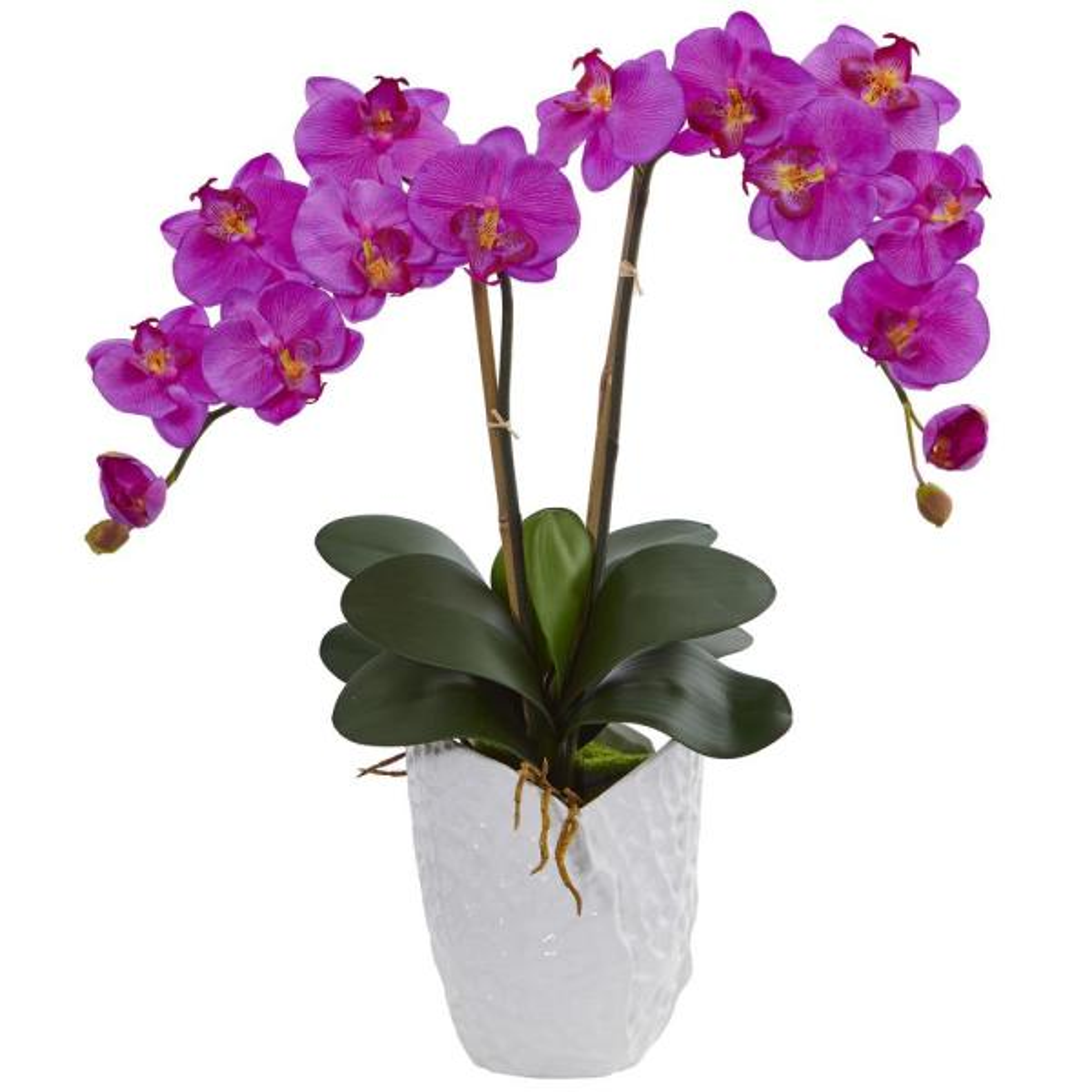 Double Phalaenopsis Orchid Artificial Arrangement in White Ceramic Vase