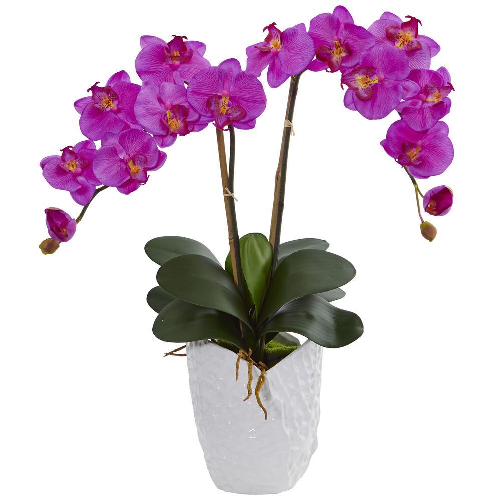 double orchid artificial arrangement in white ceramic vase