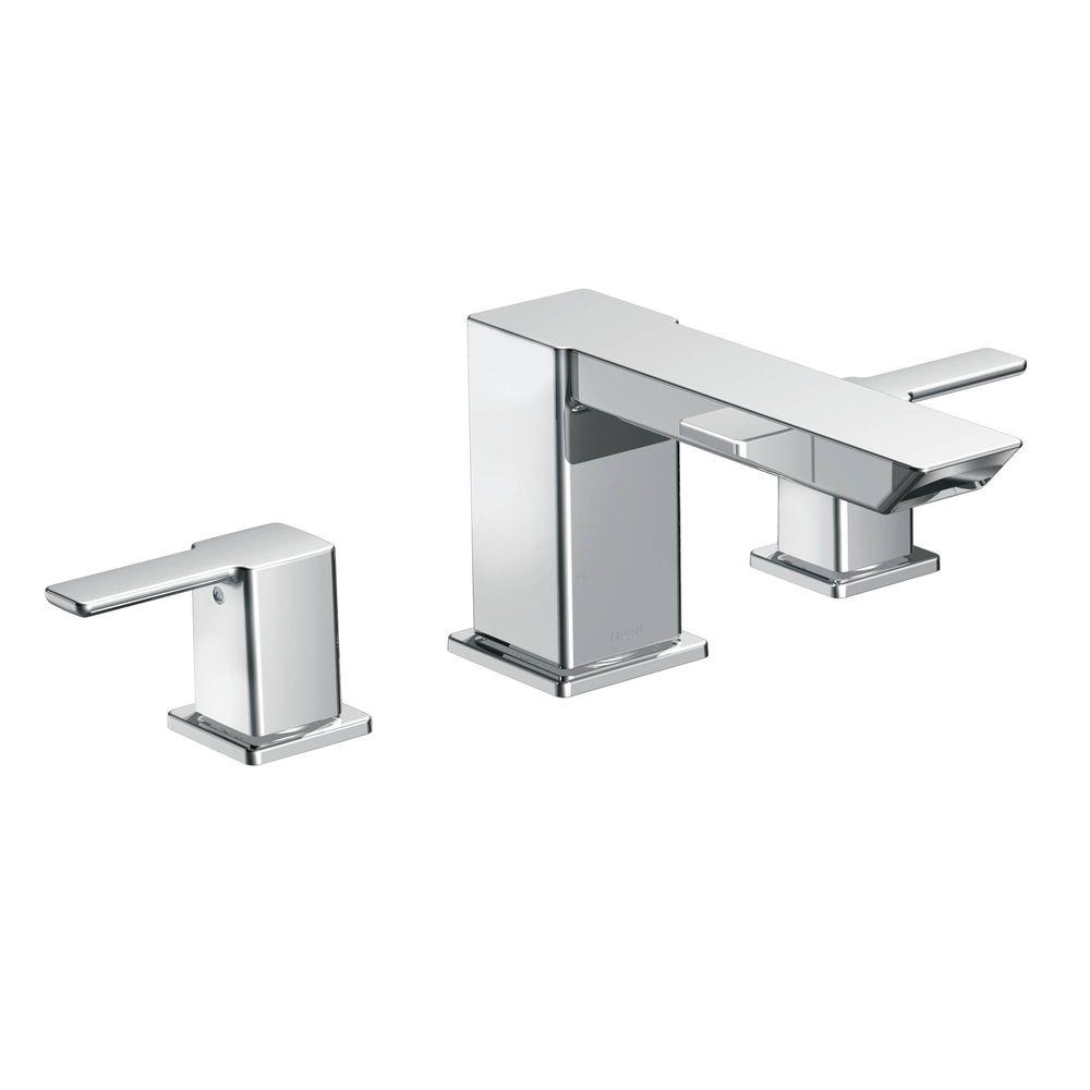 MOEN 90-Degree 2-Handle Deck-Mount High-Arc Roman Tub Faucet Trim ...