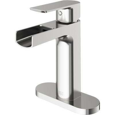 Ileana Single Hole Single-Handle Bathroom Faucet with Deck Plate in Brushed Nickel