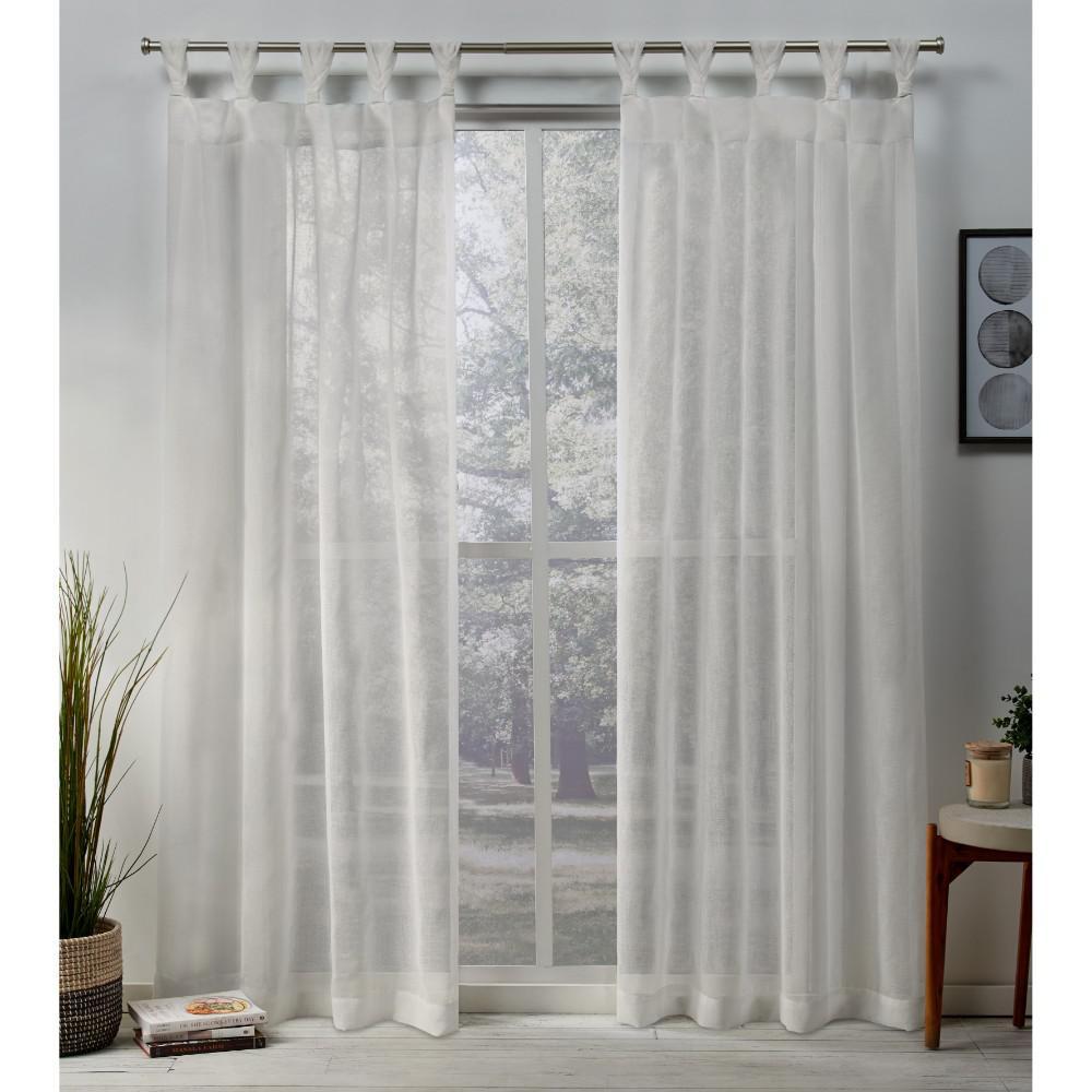 Belgian 50 in. W x 96 in. L Sheer Braided Tab Top Curtain Panel in Snowflake (2 Panels)