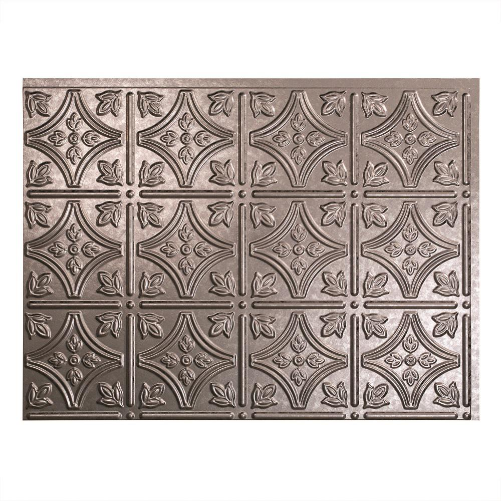 Fasade 24 in. x 18 in. Traditional 1 PVC Decorative Backsplash Panel in Galvanized Steel