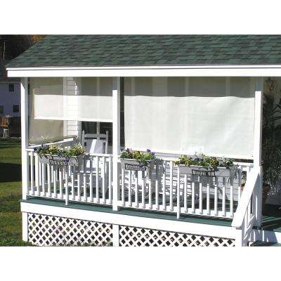 Cream Corded Light Filtering Motorized Vinyl Exterior Roll-Up Shade Left Motor White Cassette 120 in. W x 84 in. L
