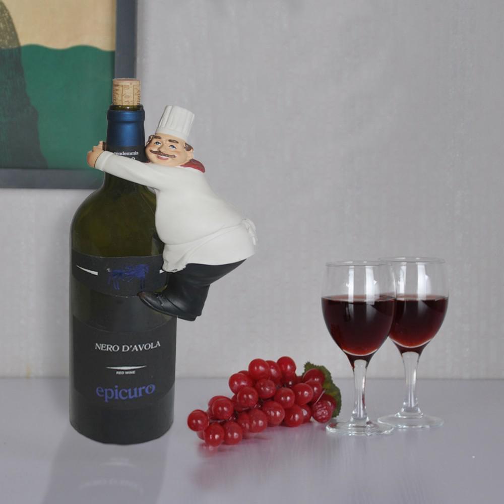 1-Bottle Multi-Color Modern Chef Wine Holder