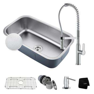 Outlast All-in-One Undermount Stainless Steel 32 in. Single Bowl Kitchen Sink with Faucet in Chrome