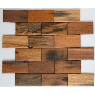 12 in. x 12 in. x 10 mm Tile'ESQUE Antique Wood in Offset Pattern Mesh-Mounted Mosaic Tile