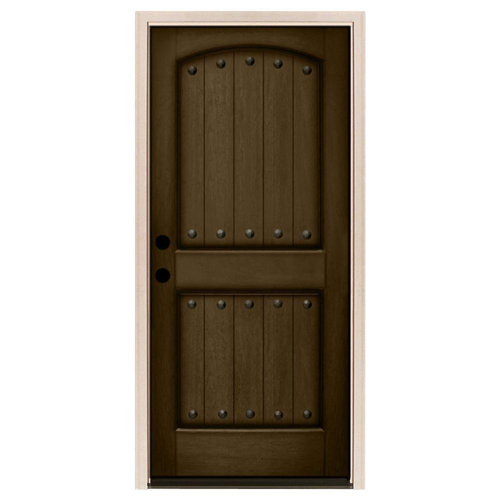 Steves & Sons 36 in. x 80 in. Rustic 2-Panel Plank Stained Mahogany Wood Prehung Front Door