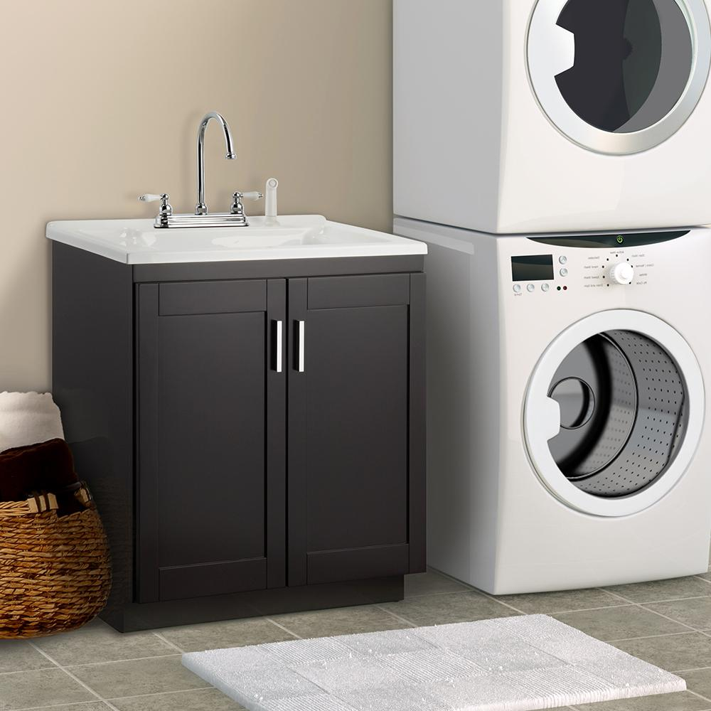 Foremost Palmero 30 In Laundry Vanity Espresso And Premium Acrylic Sink White Faucet Kit