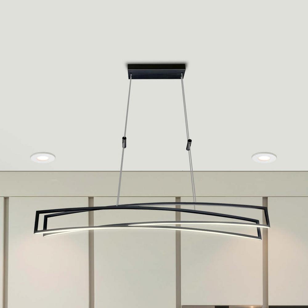 Sirius 77-Watt Black Integrated LED Linear Chandelier