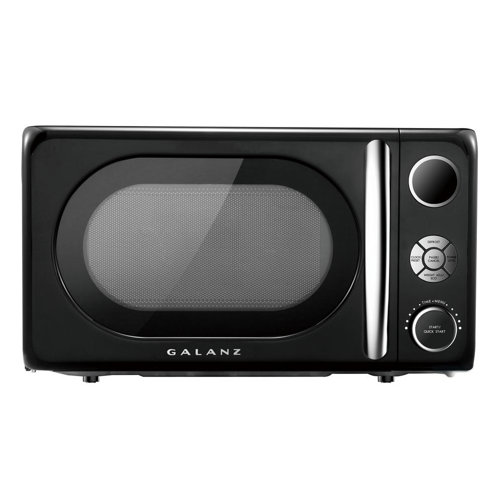 Galanz 0.7 cu. Ft. 700-Watt Countertop Microwave in Black, Retro