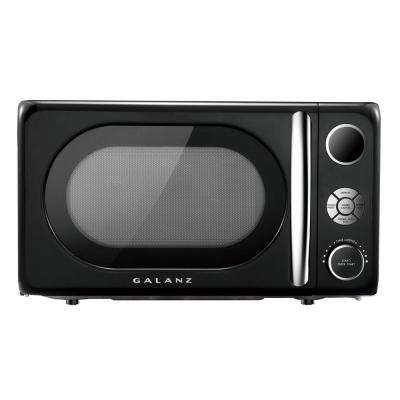 0.7 cu. Ft. 700-Watt Countertop Microwave in Black, Retro