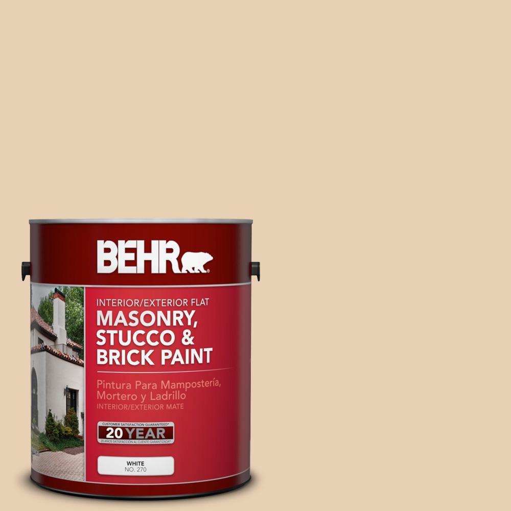 BEHR 1 gal. #S290-2 White Bean Hummus Flat Interior/Exterior Masonry, Stucco and Brick Paint