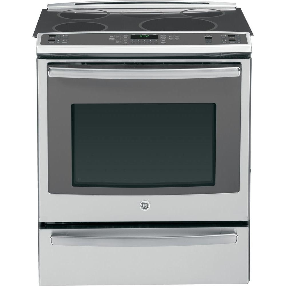 GE Profile 5.3 cu. ft. Slide-In Electric Range with Self-Cleaning Induction and Convection Oven in Stainless Steel