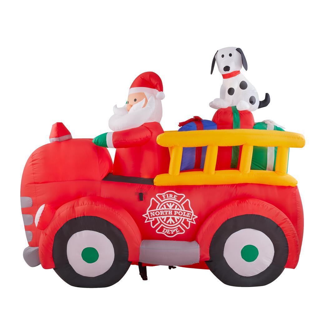 5 ft. Inflatable Santa Driving Vintage Fire Truck Scene