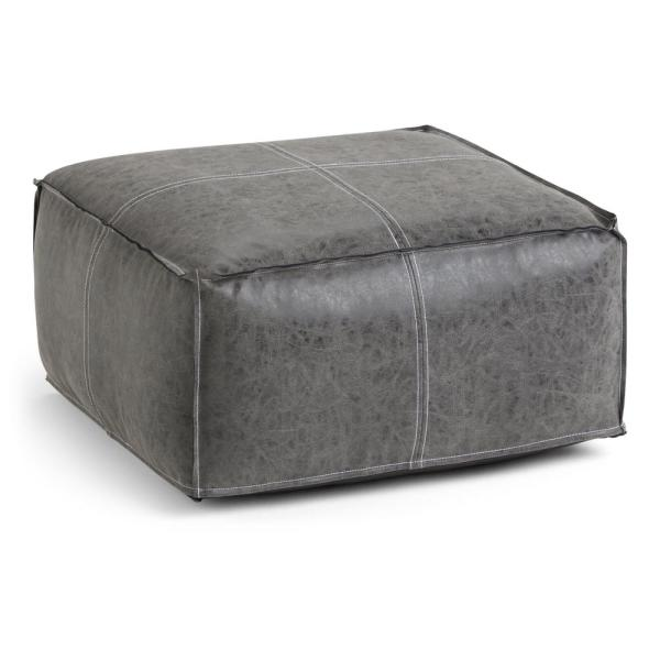Simpli Home Barnett Transitional Square Pouf in Distressed Black Faux Leather