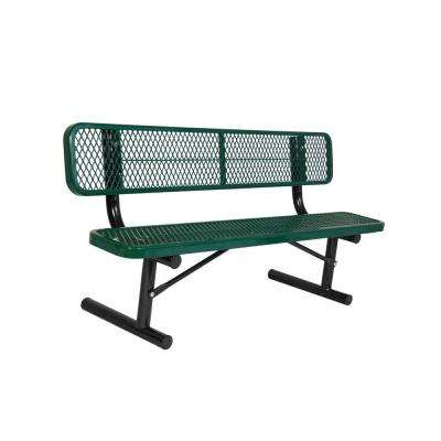 Portable 6 ft. Green Diamond Commercial Park Bench with Back