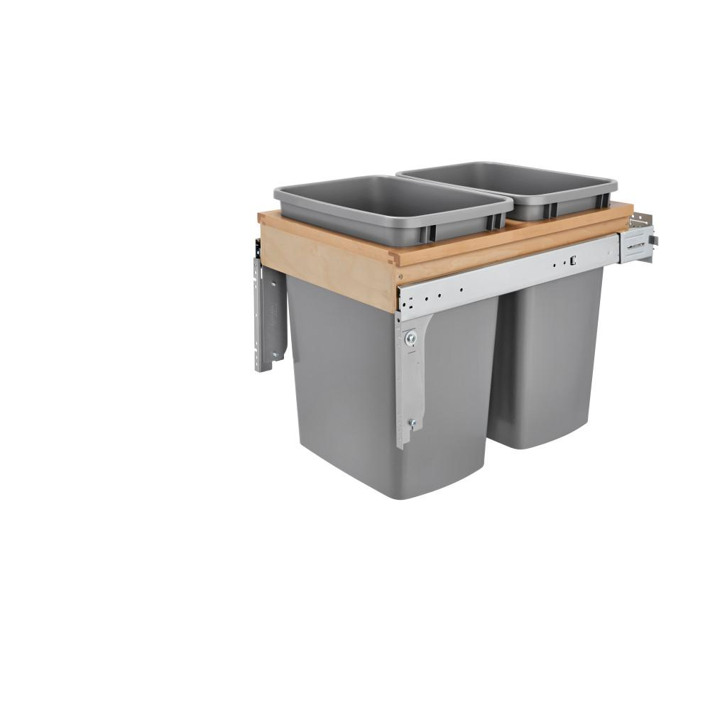 Rev-A-Shelf Dbl 35 Qt. Wood Top Mount Waste Container