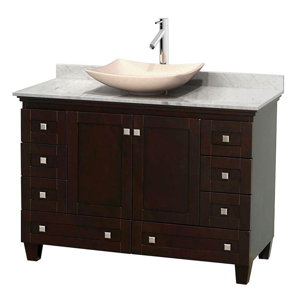 Wyndham Collection Acclaim 48 in. W Vanity in Espresso with Marble Vanity Top in Carrara White and Ivory Marble Sink