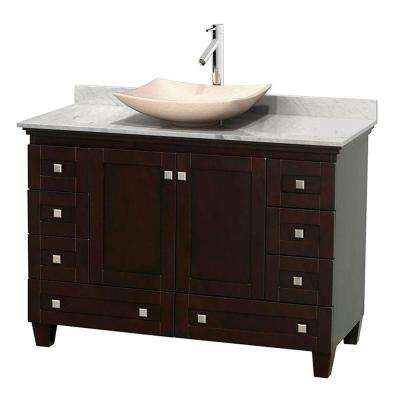 Acclaim 48 in. W Vanity in Espresso with Marble Vanity Top in Carrara White and Ivory Marble Sink