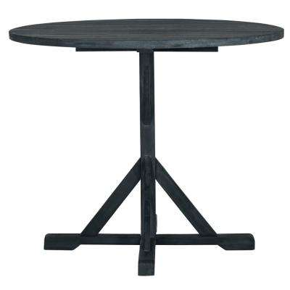 Arcata Dark Slate Gray Round Wood Outdoor Side Table