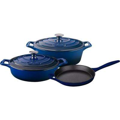 PRO 5-Piece Enameled Cast Iron Cookware Set with Saute, Skillet and Oval Casserole in Blue