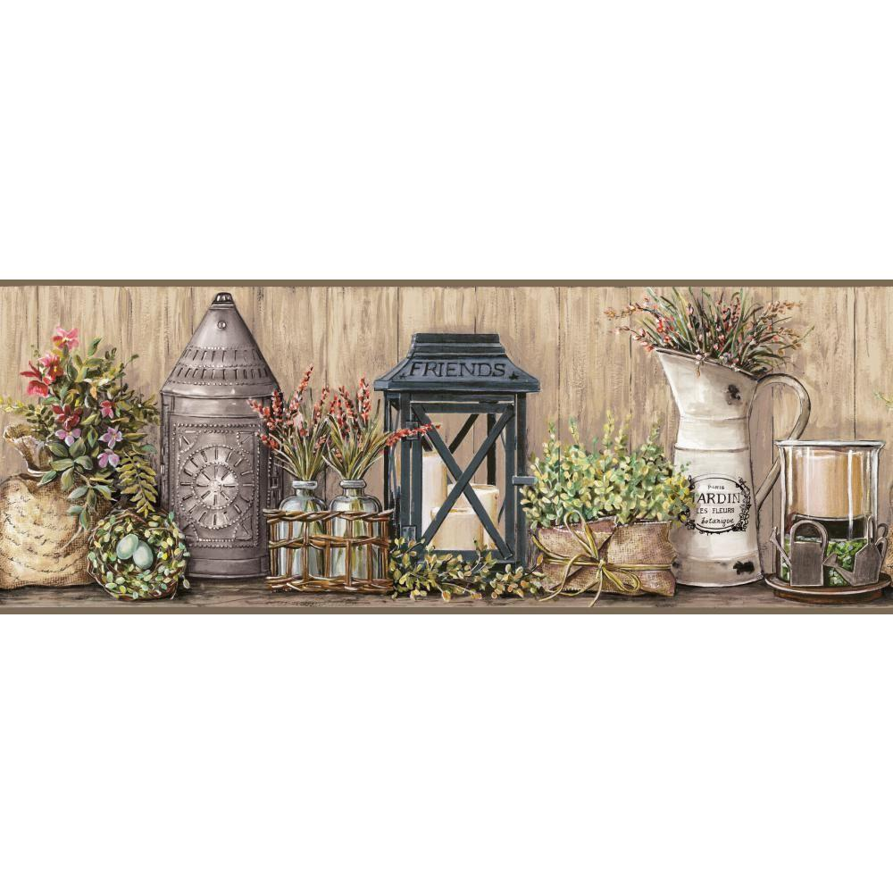 Country Keepsakes Garden taupe, grey, black, green, aqua, purple, orange Wallpaper Border