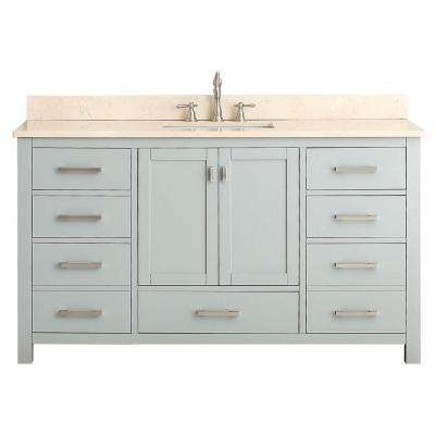 Modero 61 in. W x 22 in. D x 35 in. H Vanity in Chilled Gray with Marble Vanity Top in Galala Beige and White Basins