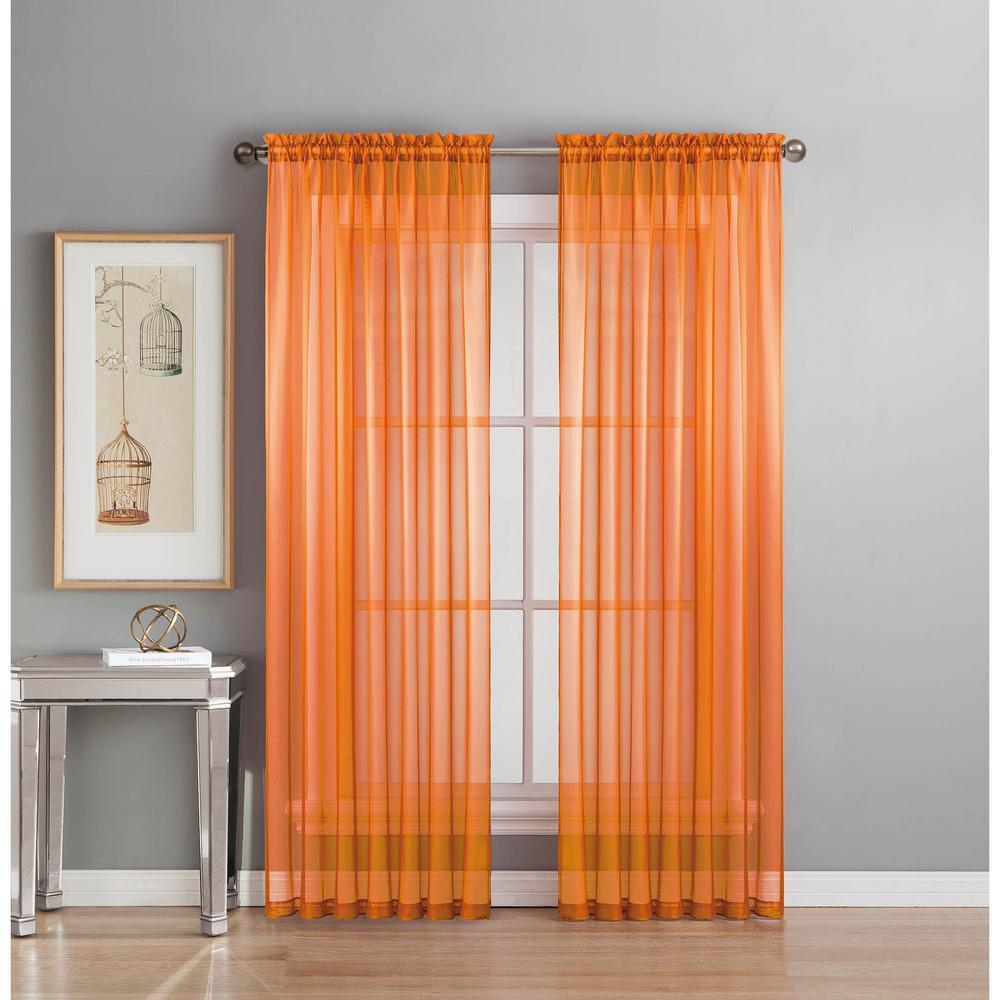 Window Elements Sheer Diamond Orange Rod Pocket Extra Wide Curtain Panel 56 In