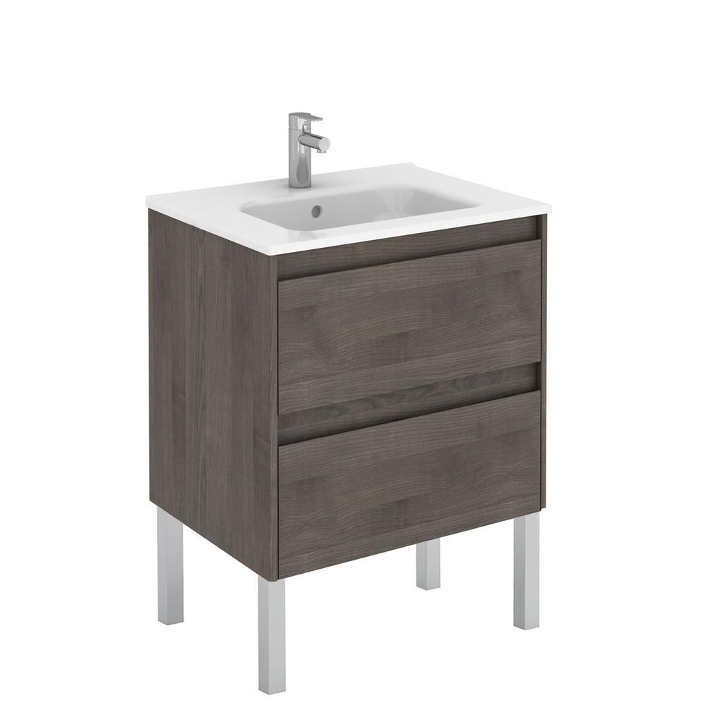 Ambra 23.9 in. W x 18.1 in. D x 32.9 in. H Bathroom Vanity Unit in Samara Ash with Vanity Top and Basin in White