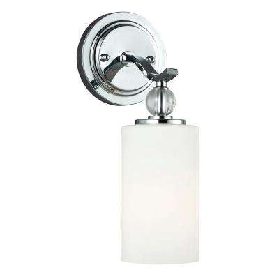 Englehorn 1-Light Chrome Wall/Bath Sconce with Inside White Painted Etched Glass