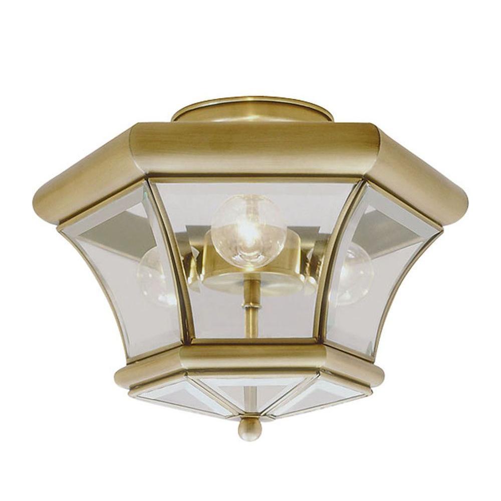 Providence 3-Light Ceiling Antique Brass Incandescent Semi Flush Mount