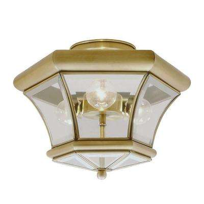 Providence 3-Light Ceiling Antique Brass Incandescent Semi Flush Mount