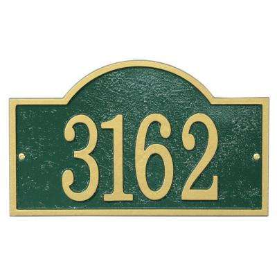 Fast and Easy Arch House Number Plaque, Green/Gold