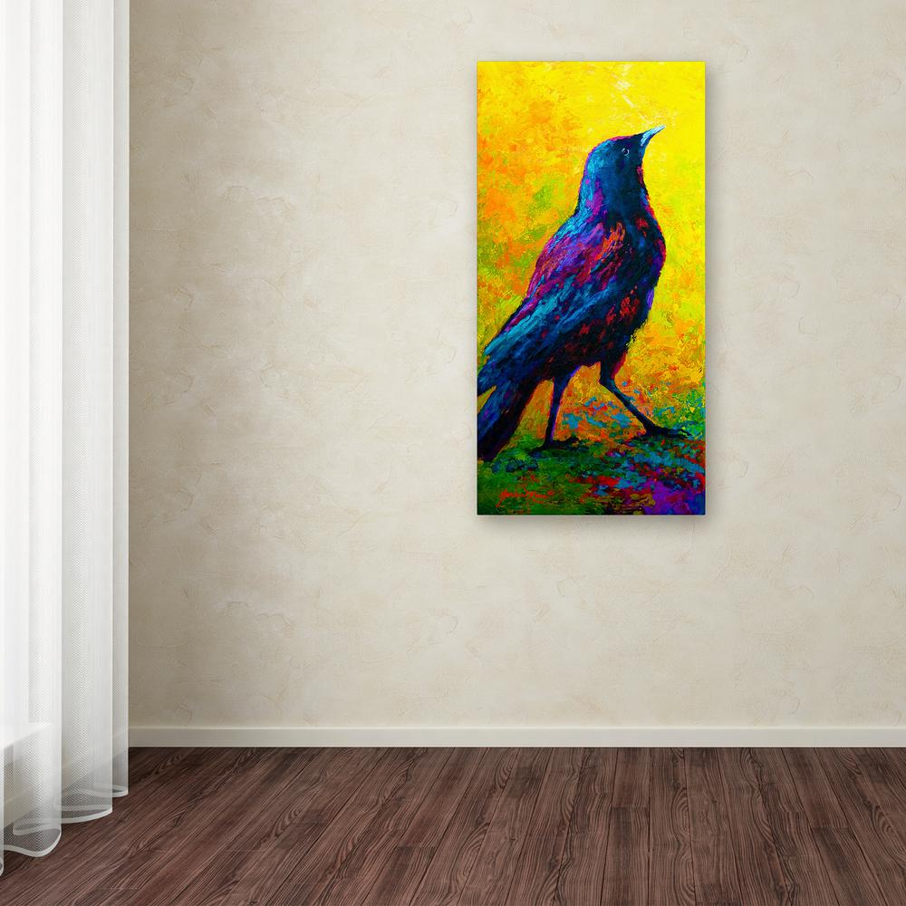 "24 in. x 12 in. ""Crow 3"" by Marion Rose Printed"