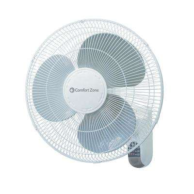 16 in. Quiet 3-Speed Wall Mount Fan with Remote Control, Timer and Adjustable Tilt in White
