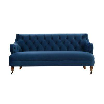 Milano Satin Teal Tufted Accent Sofa
