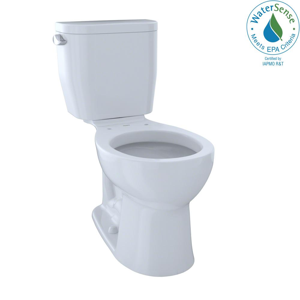 TOTO Entrada 2-Piece 1.28 GPF Single Flush Round Toilet in Cotton ...