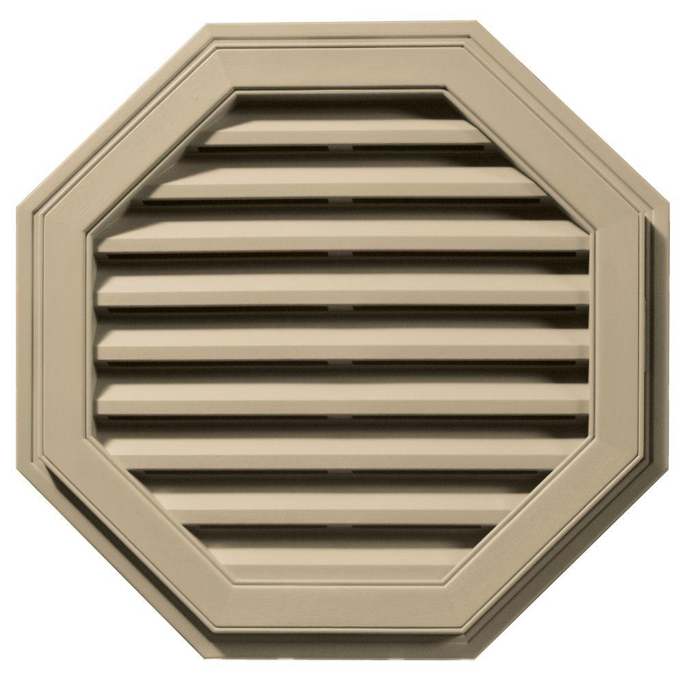 27 in. Octagon Gable Vent in Light Almond
