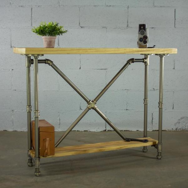 Houston Vintage Natural 2 Tier Pipe Entryway Console Sofa Hall Table Metal Reclaimed Aged Wood Furniture Pipeline