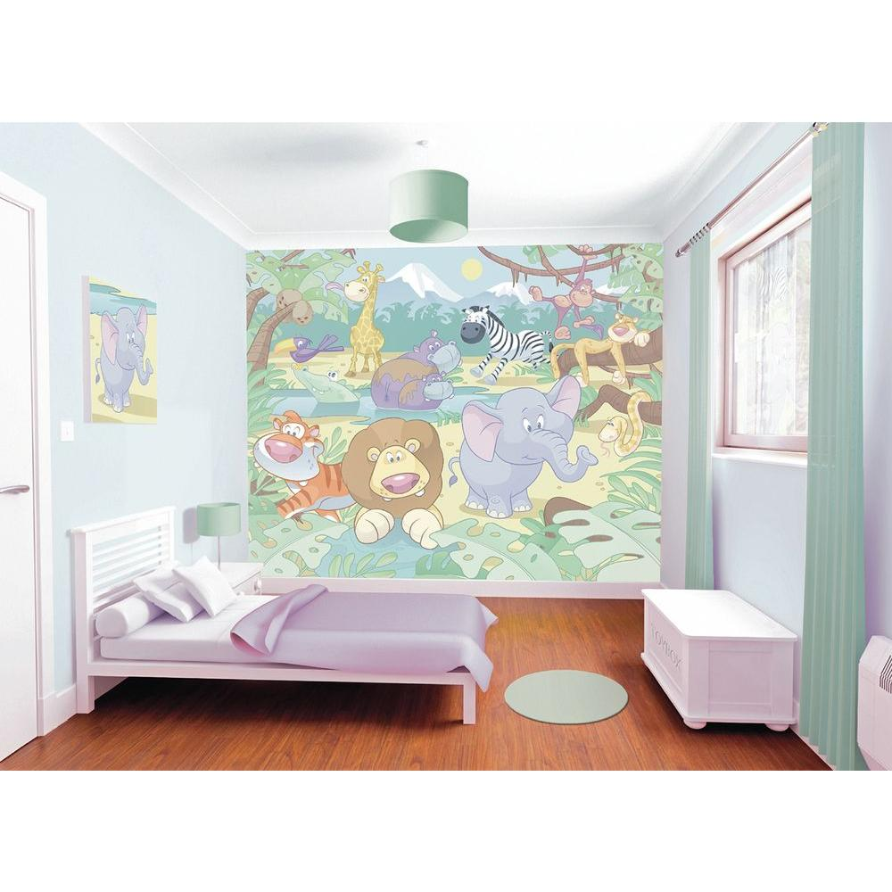 Walltastic Graffiti Wallpaper Mural: Walltastic 120 In. H X 96 In. W Baby Jungle Safari Wall