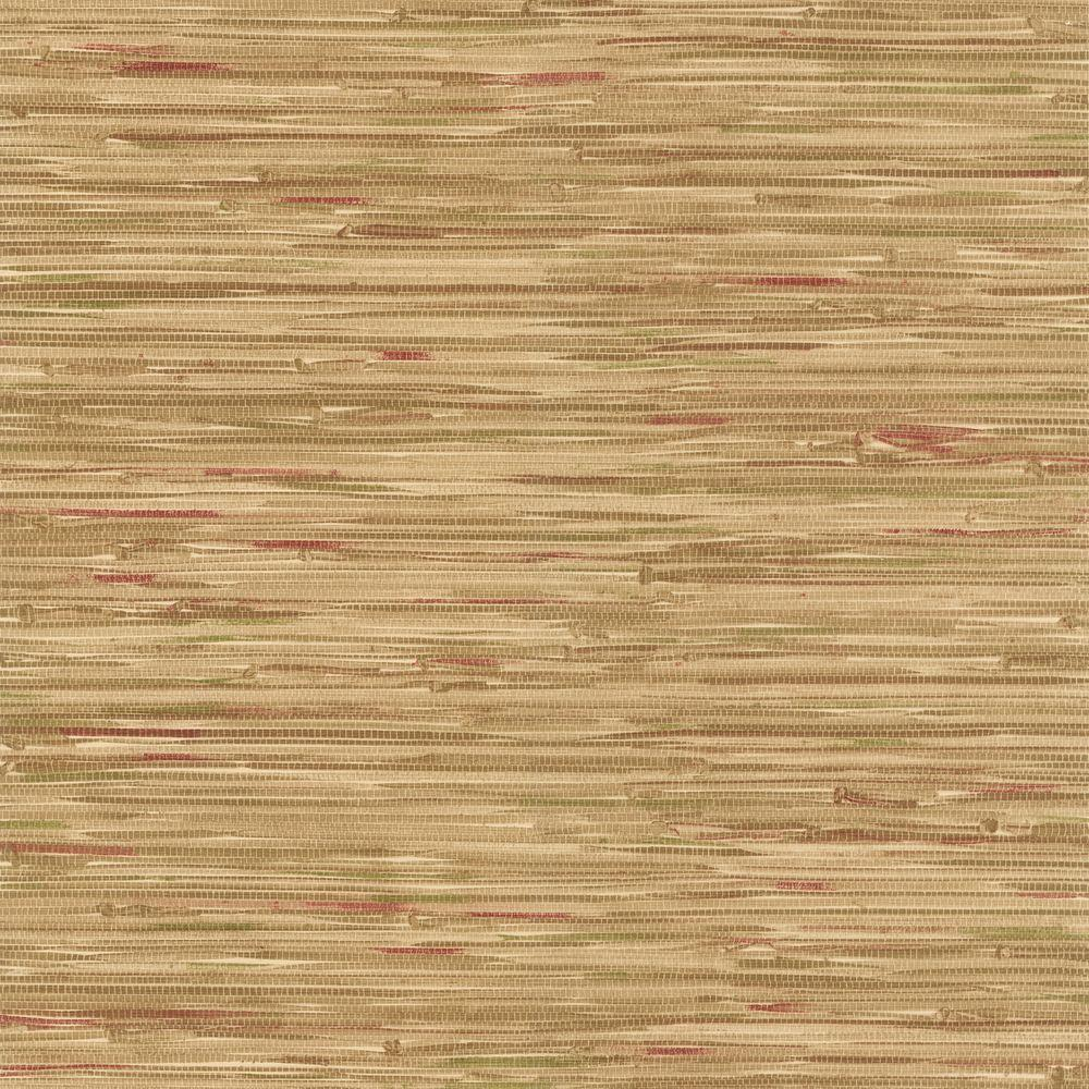 Red Grasscloth Wallpaper: Faraji Light Brown Faux Grasscloth Wallpaper-414-44139