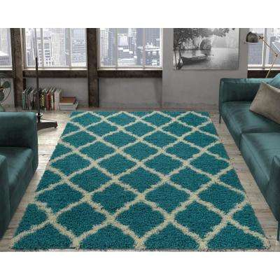 Ultimate Shaggy Contemporary Moroccan Trellis Design Turquoise 7 ft. x 9 ft. Area Rug
